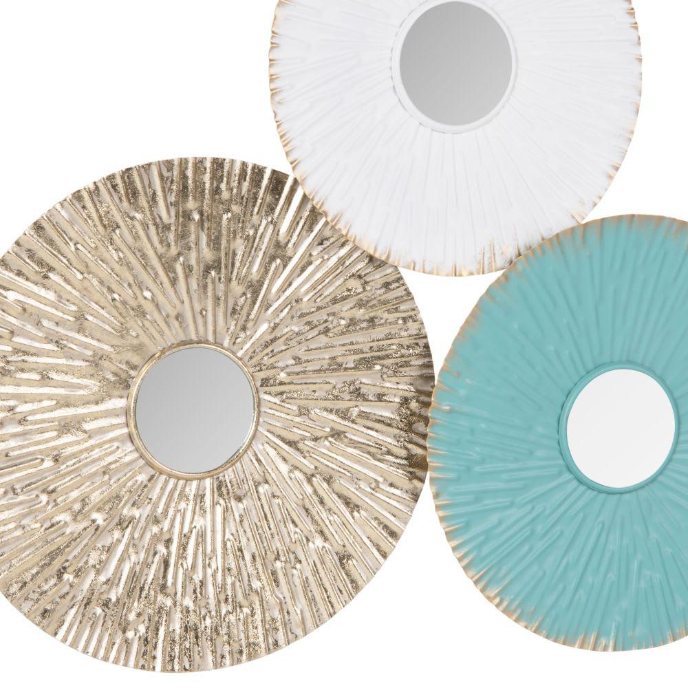 Déco murale cercles en métal blanc, vert et doré 79x39