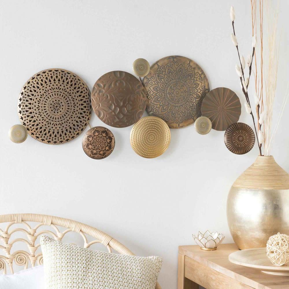 d co murale en m tal dor 37x89 circles maisons du monde. Black Bedroom Furniture Sets. Home Design Ideas