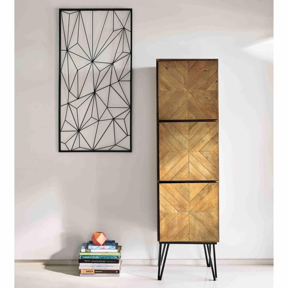 d co murale en m tal noire 62 x 121 cm network maisons. Black Bedroom Furniture Sets. Home Design Ideas