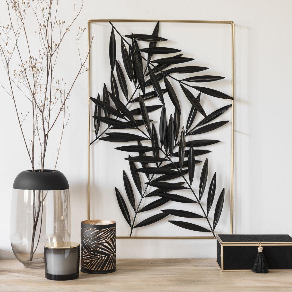 d co murale feuilles en m tal dor et noir 40x60 black. Black Bedroom Furniture Sets. Home Design Ideas