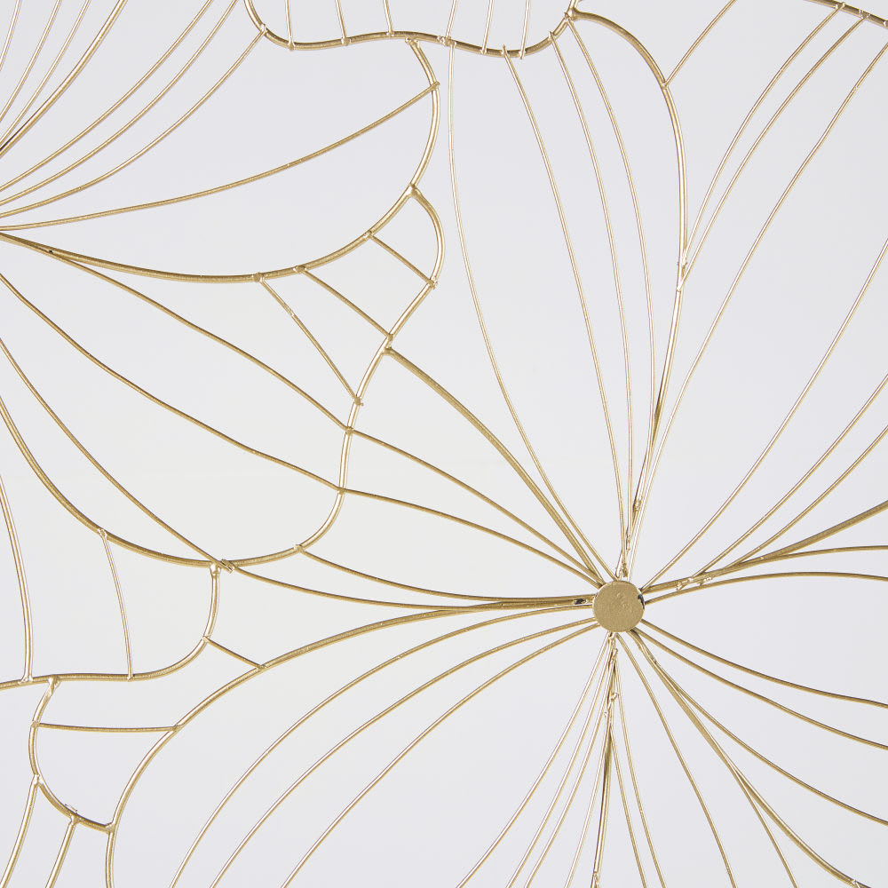 d co murale filaire fleurs en m tal dor 100x100 camelia. Black Bedroom Furniture Sets. Home Design Ideas
