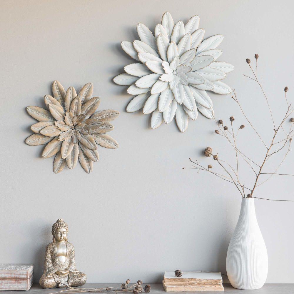 d co murale fleur en m tal dor d33 flower maisons du monde. Black Bedroom Furniture Sets. Home Design Ideas