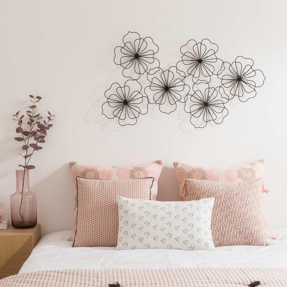 d co murale fleurs en fil de m tal noir 88x51 maisons du. Black Bedroom Furniture Sets. Home Design Ideas