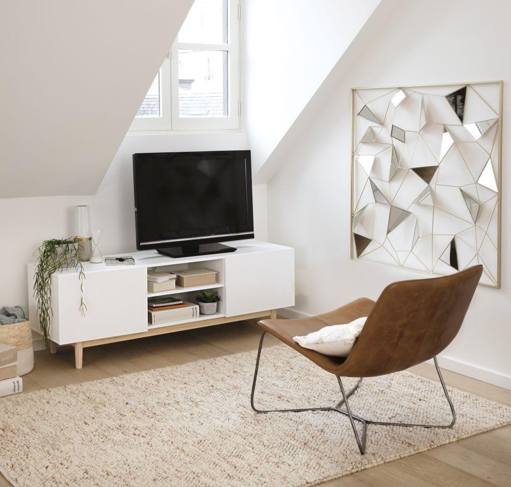 d co murale miroir en m tal dor 98x98 clayton maisons. Black Bedroom Furniture Sets. Home Design Ideas