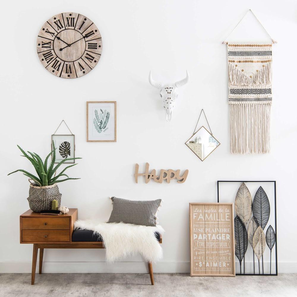 d co murale plumes en m tal noir et dor 53x84 inaya. Black Bedroom Furniture Sets. Home Design Ideas