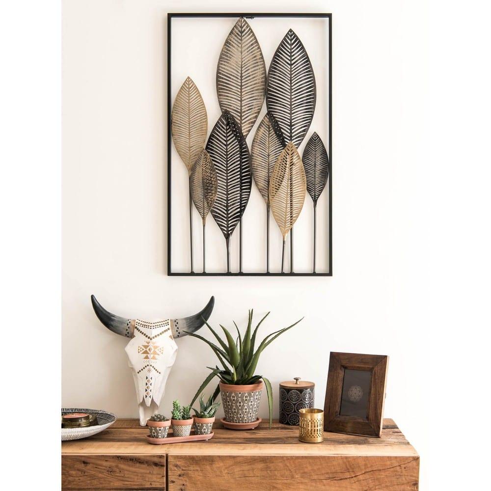 decoraci n de pared con plumas de metal negro y dorado. Black Bedroom Furniture Sets. Home Design Ideas