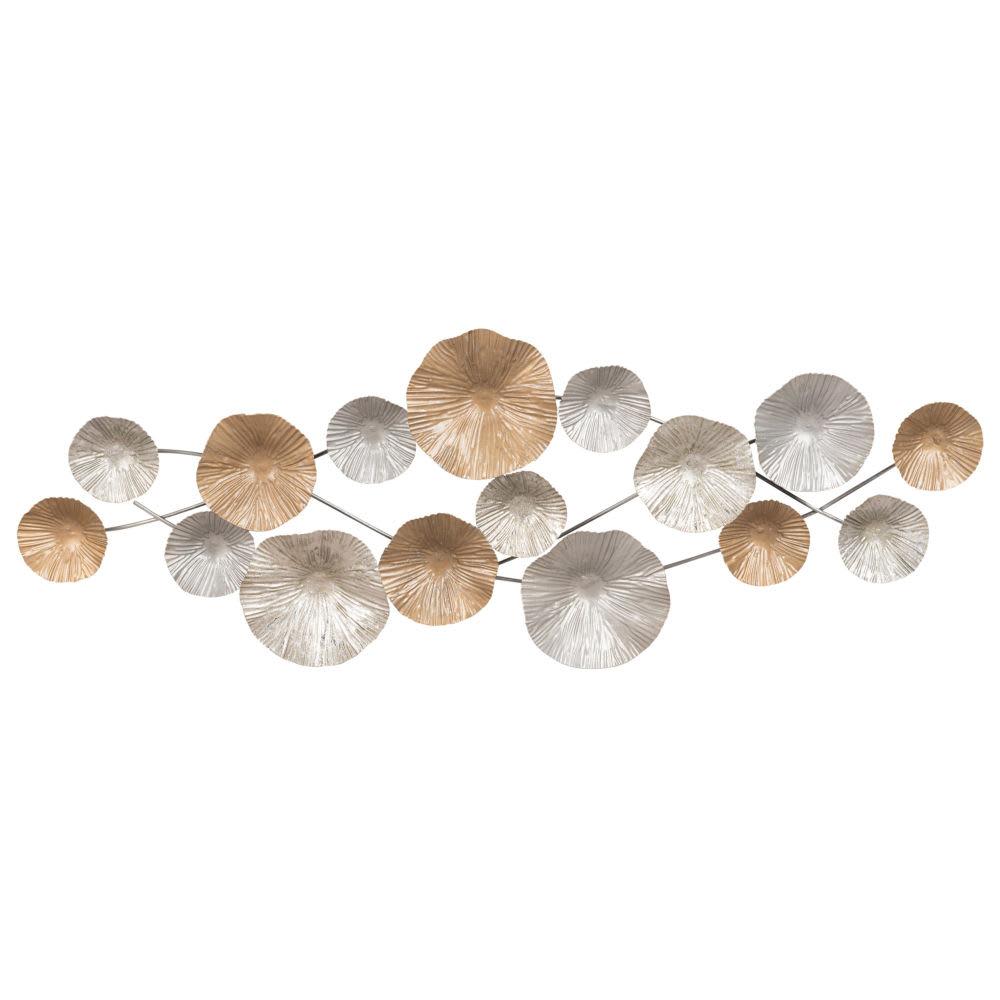 Decorazioni Da Parete In Metallo.Decorazione Da Parete In Metallo Dorato E Argentato 27x75 Cm Noria