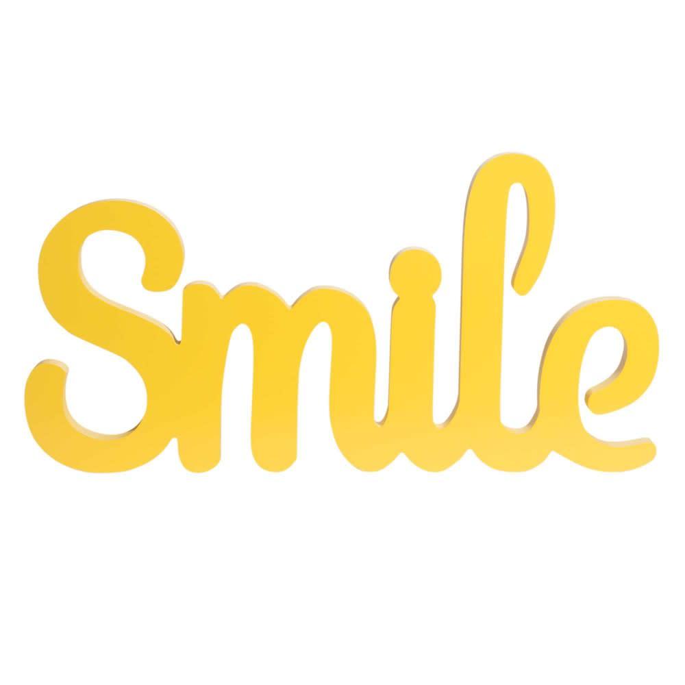 Deko Schriftzug Aus Gelbem Kiefernholz 45x23 Smile Maisons Du Monde