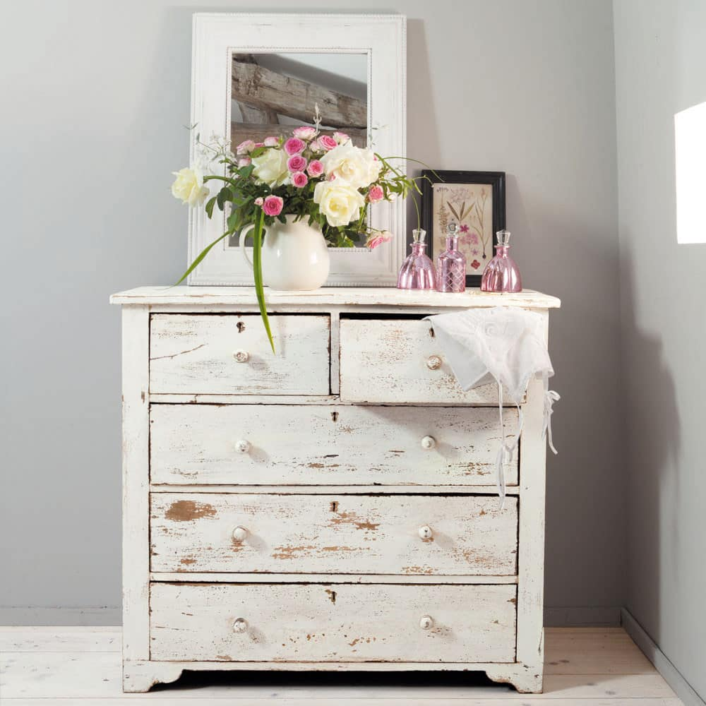 Distressed Mango Wood Chest Of Drawers In White W 94cm