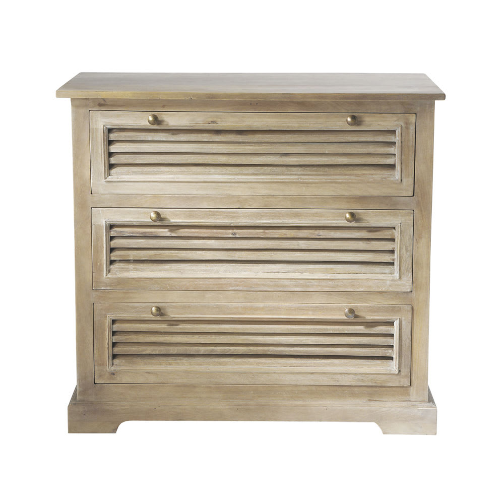 Distressed Mango Wood Chest Of Drawers W 85cm Persiennes