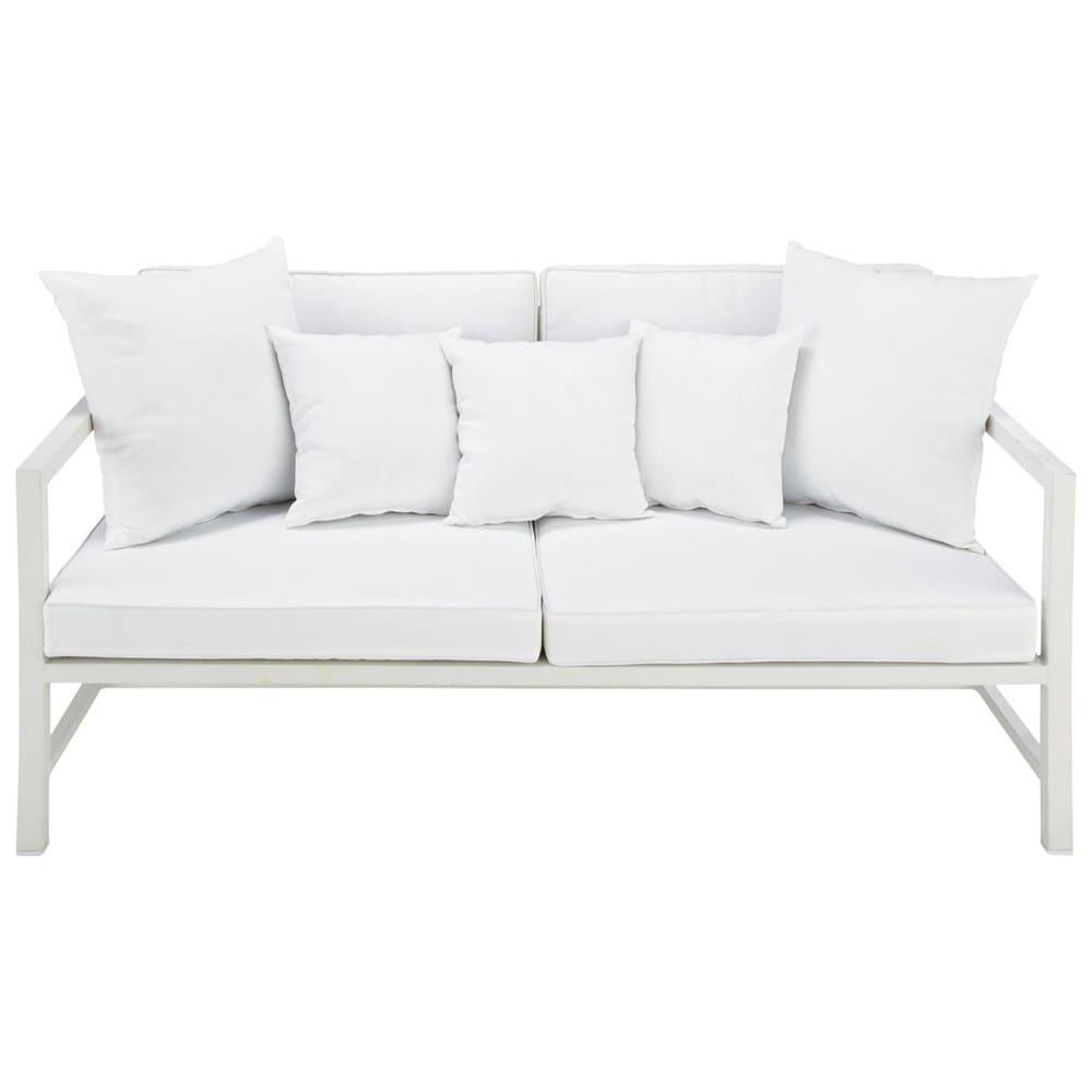 Divanetto da giardino bianco 2 posti in alluminio Ithaque   Maisons ...