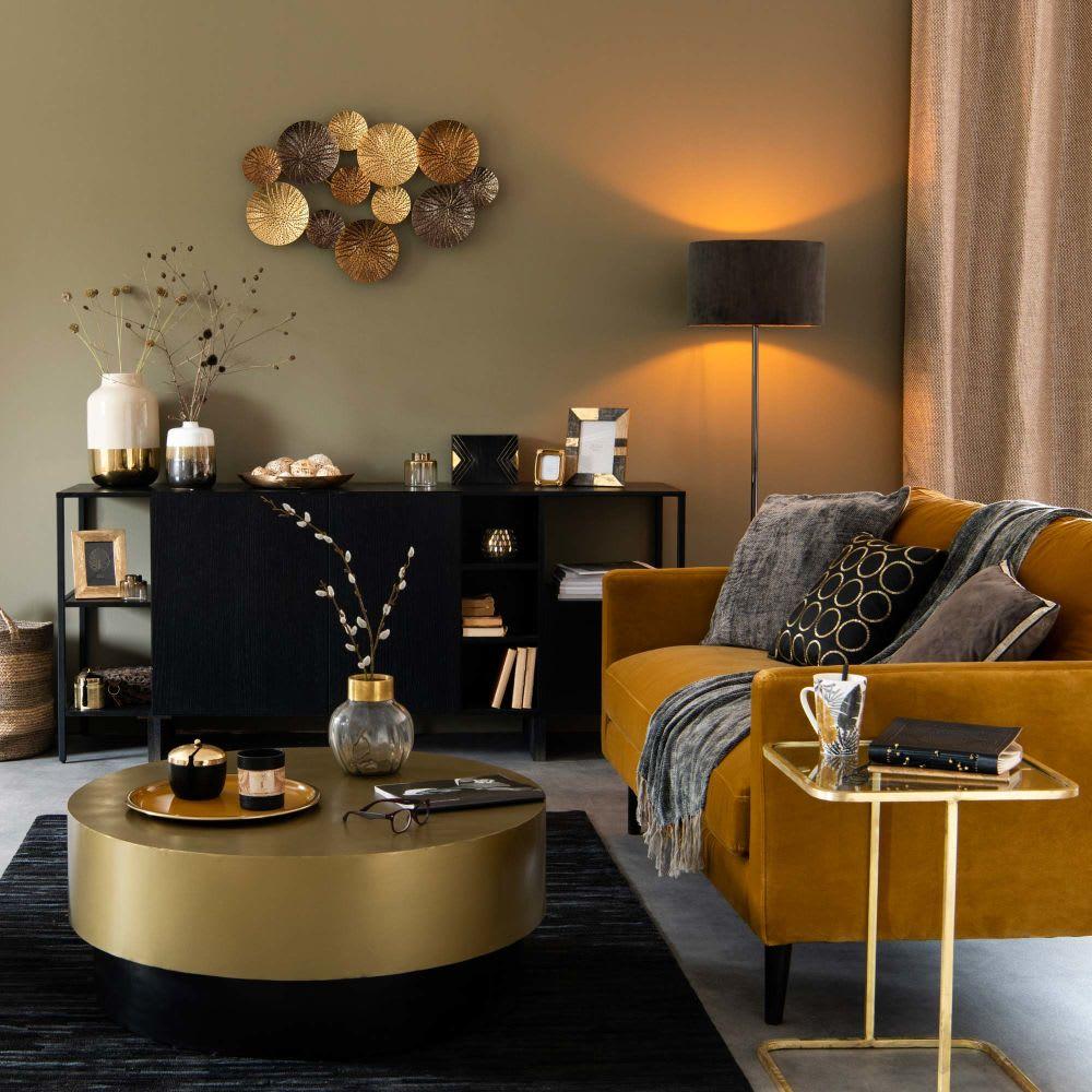 Divano 2 posti color senape in velluto kant maisons du monde for Divano 9 posti