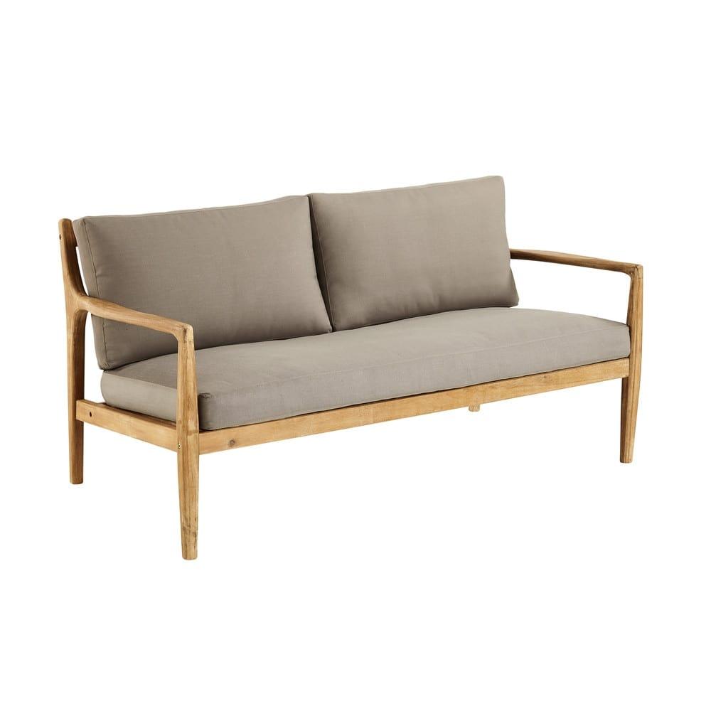 Divano 2 posti in legno massello di acacia Indiana   Maisons du Monde