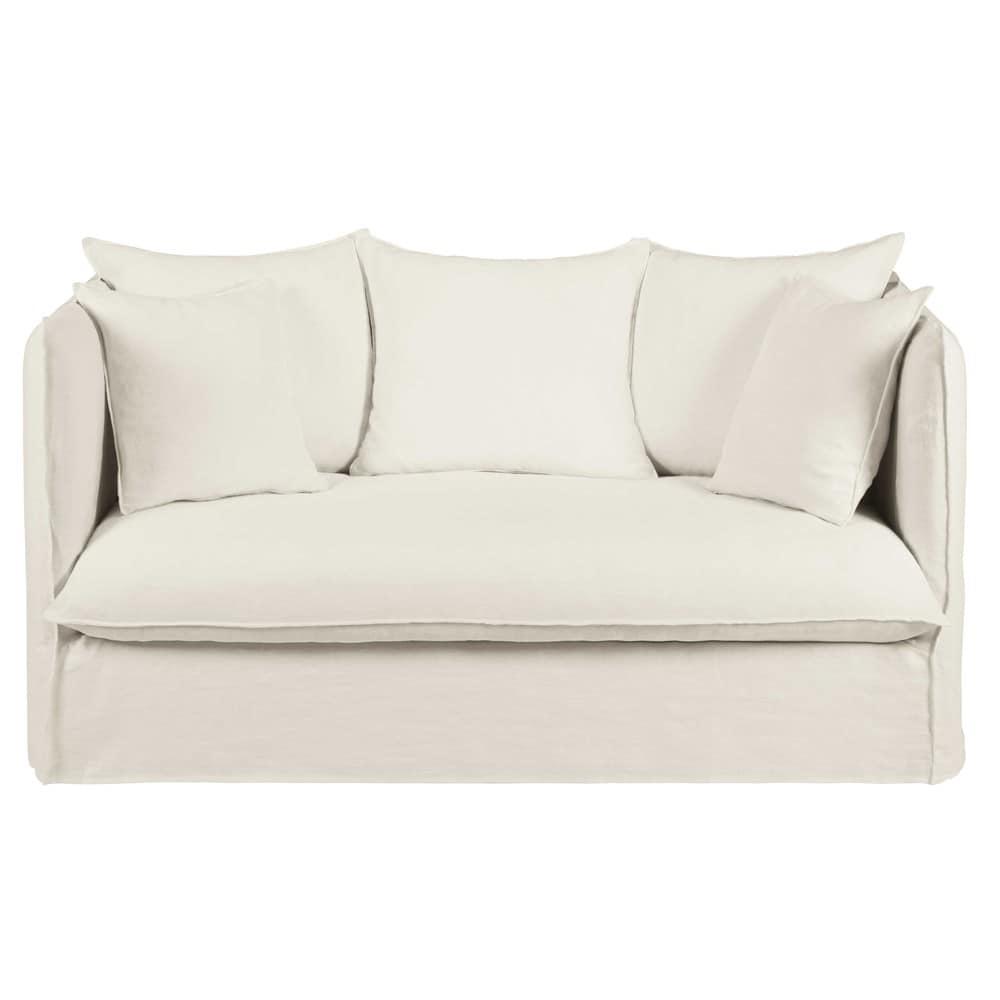 Divano 2 posti in lino lavato bianco louvre maisons du monde for Divano 9 posti