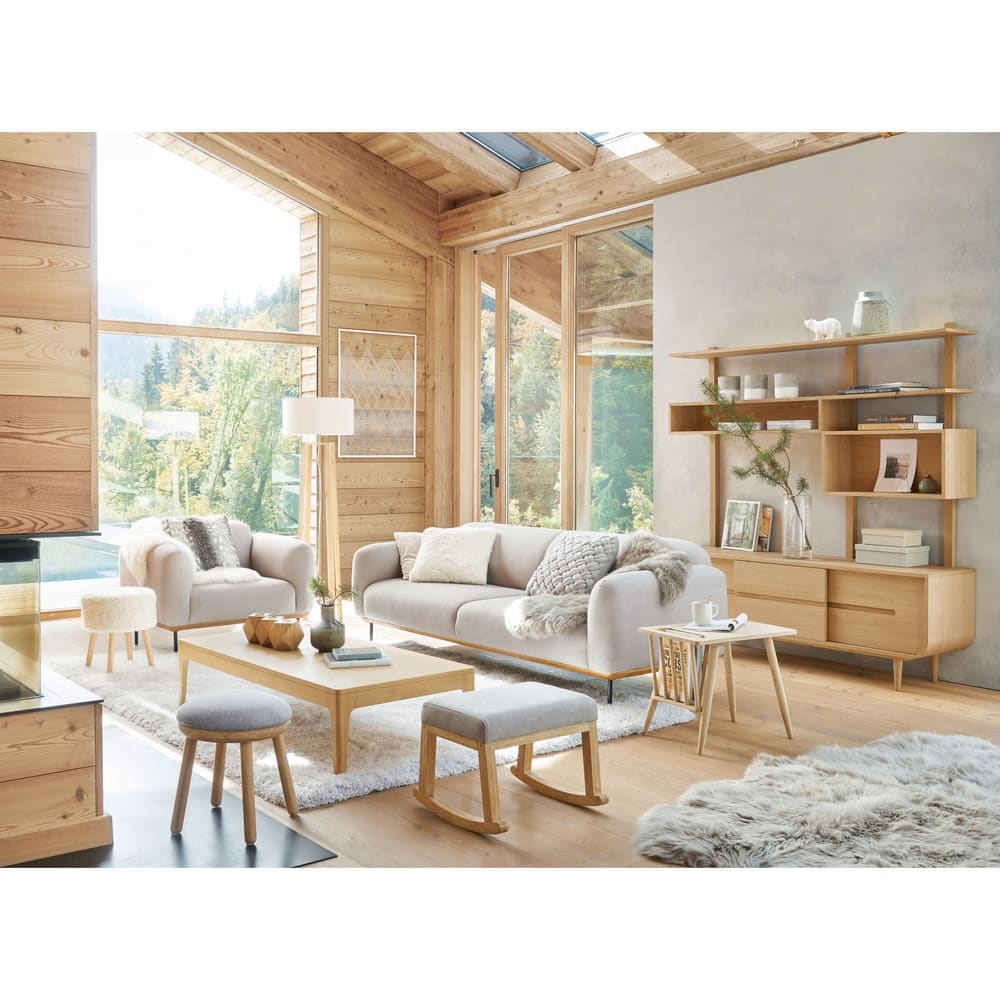Divano 3 4 posti grigio chiaro japan maisons du monde for Divano 4 posti