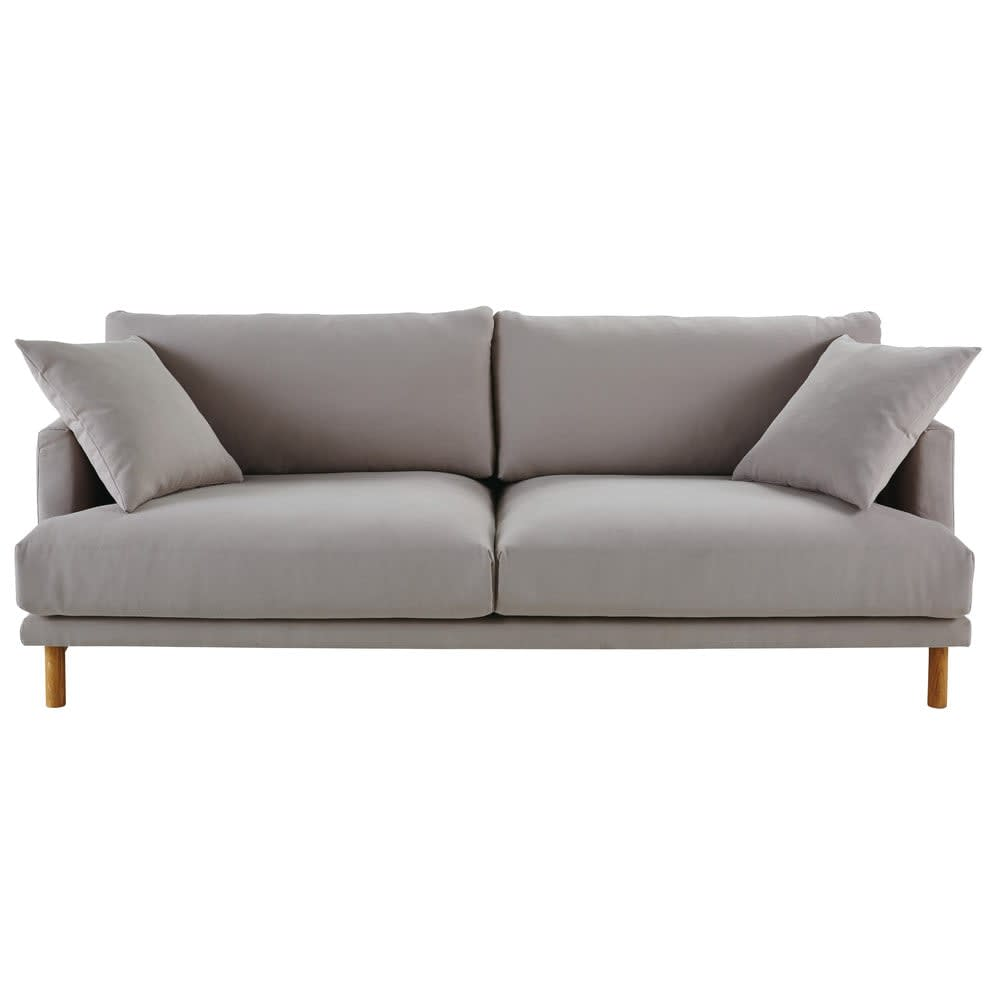 Divano 3 posti in cotone e lino grigio chiaro Raoul | Maisons du Monde