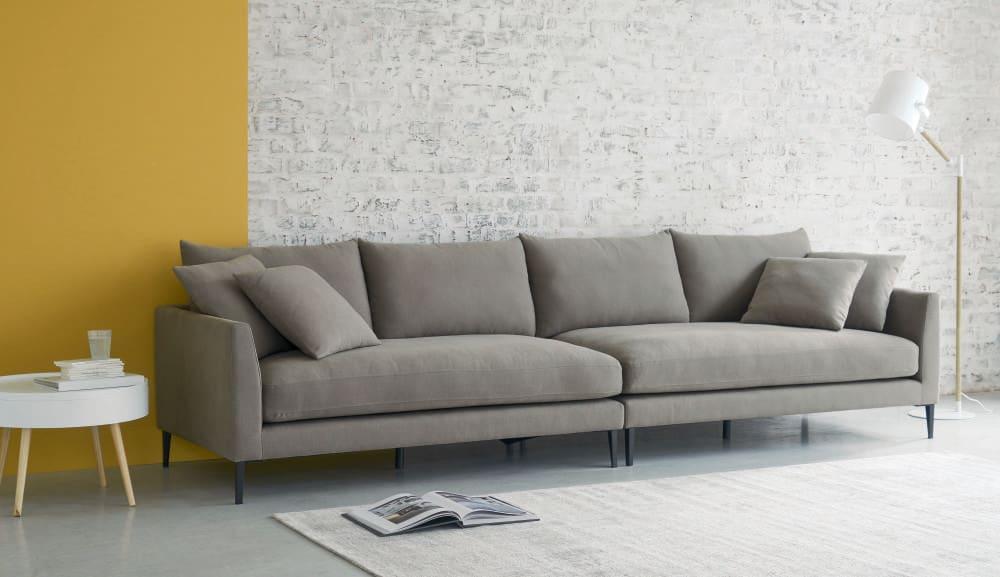 divano 5 6 posti grigio chiaro in cotone e lino patinson On divano 5 metri