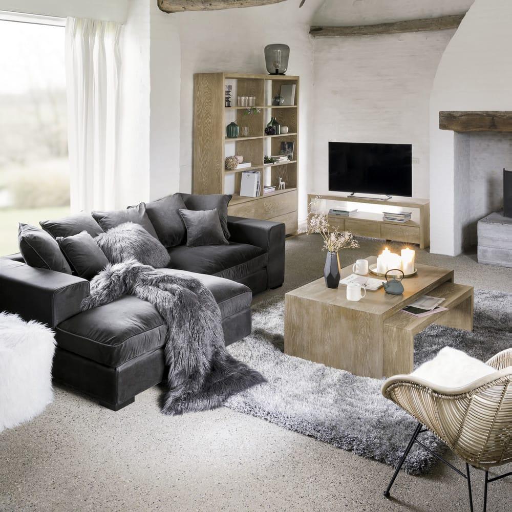 Divano ad angolo grigio in velluto 4 posti bruges for Divano 4 posti