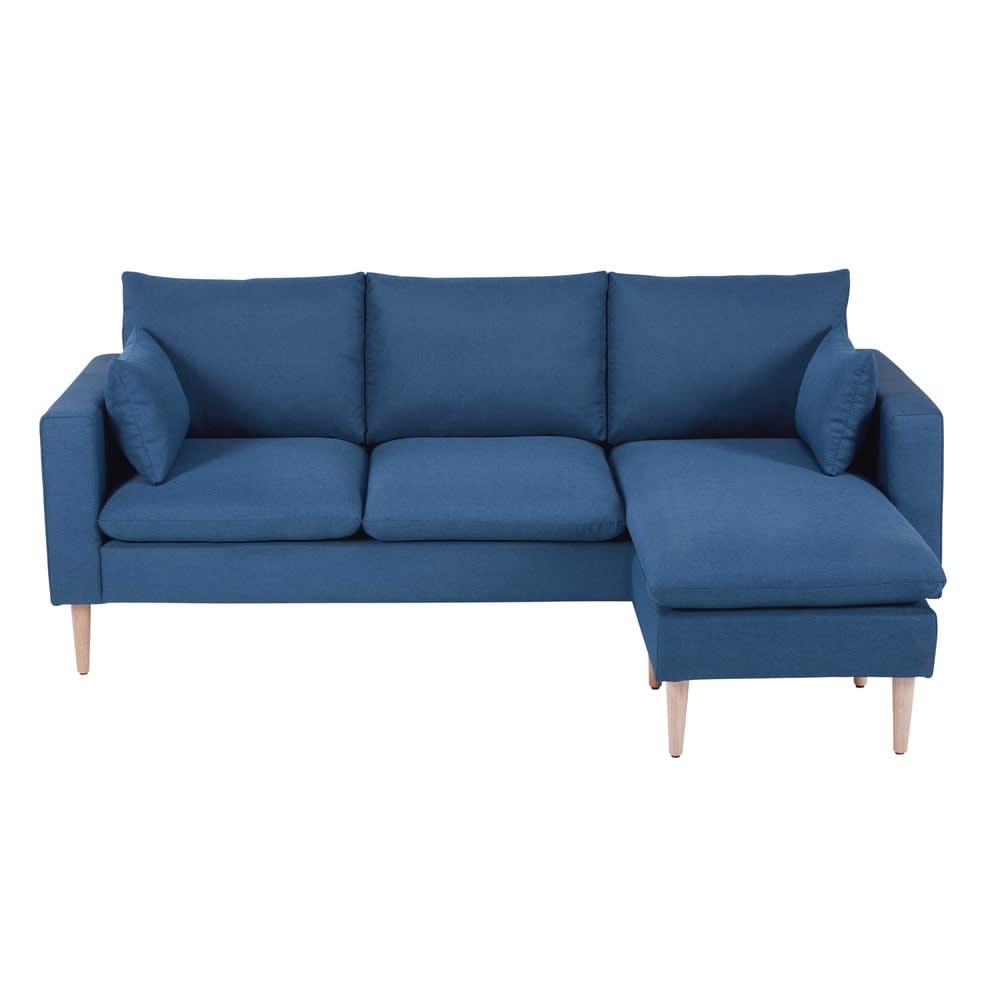 Divano ad angolo modulabile 3 4 posti blu in tessuto joey for Divano 4 metri