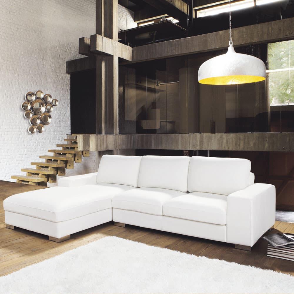 Divano ad angolo sinistro bianco in pelle 5 posti new york maisons du monde - Divano ad angolo in pelle ...