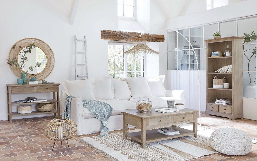 Divano In Lino Bianco : Divano bianco in lino lavato 3 4 posti barcelone maisons du monde