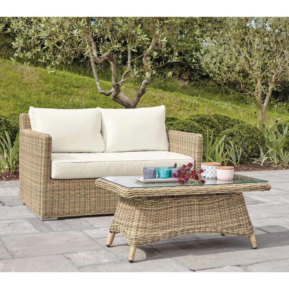Divano da giardino 2 posti in resina intrecciata e cuscini for Divano raphael