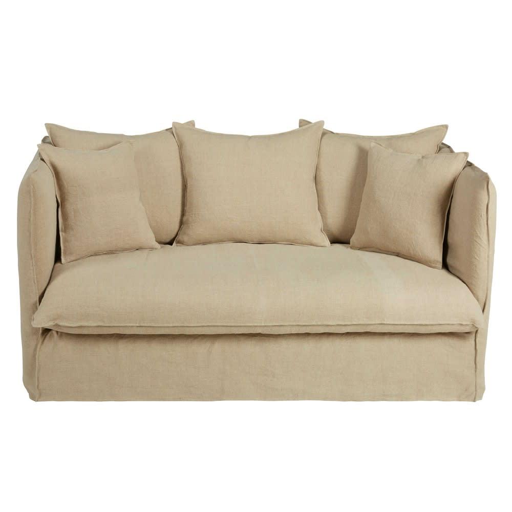 Divano letto 2 posti beige in lino lavato louvre maisons for Divano letto 2 posti