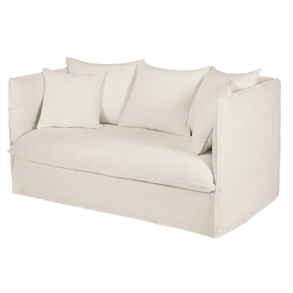 Divano letto 2 posti bianco in lino lavato louvre for Divano letto bianco