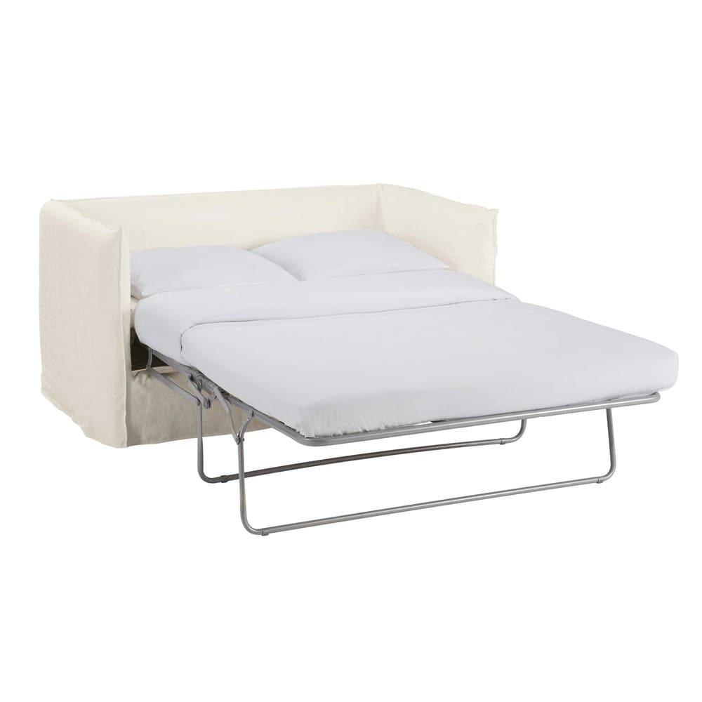 Divano letto 2 posti bianco in lino lavato louvre for Divano letto 4 posti