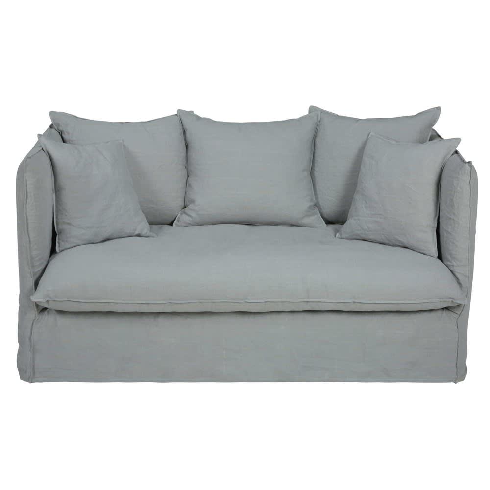 Divano letto 2 posti grigio chiaro in lino lavato louvre for Divano 2 posti letto