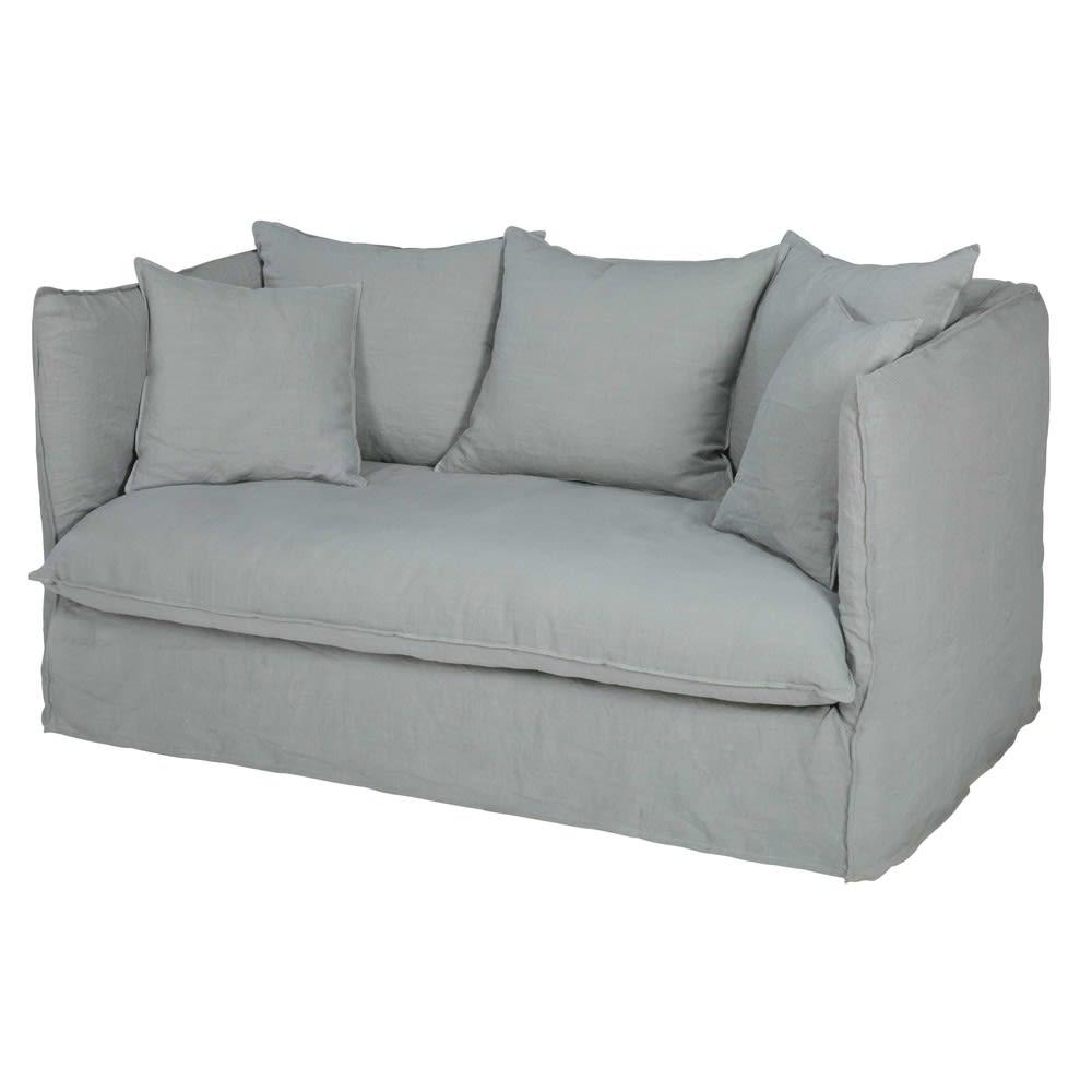 Divano letto 2 posti grigio chiaro in lino lavato Louvre | Maisons ...