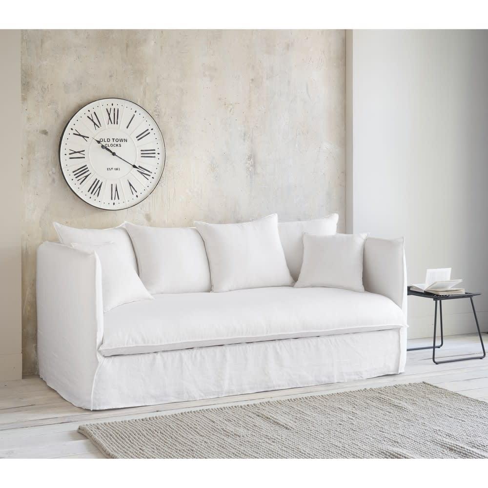 Divano letto 3 4 posti in lino lavato bianco louvre for Divano materasso maison du monde