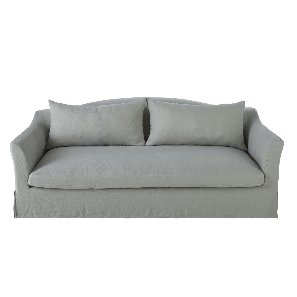 Divano letto 4 posti grigio chiaro in lino lavato Anaelle   Maisons ...