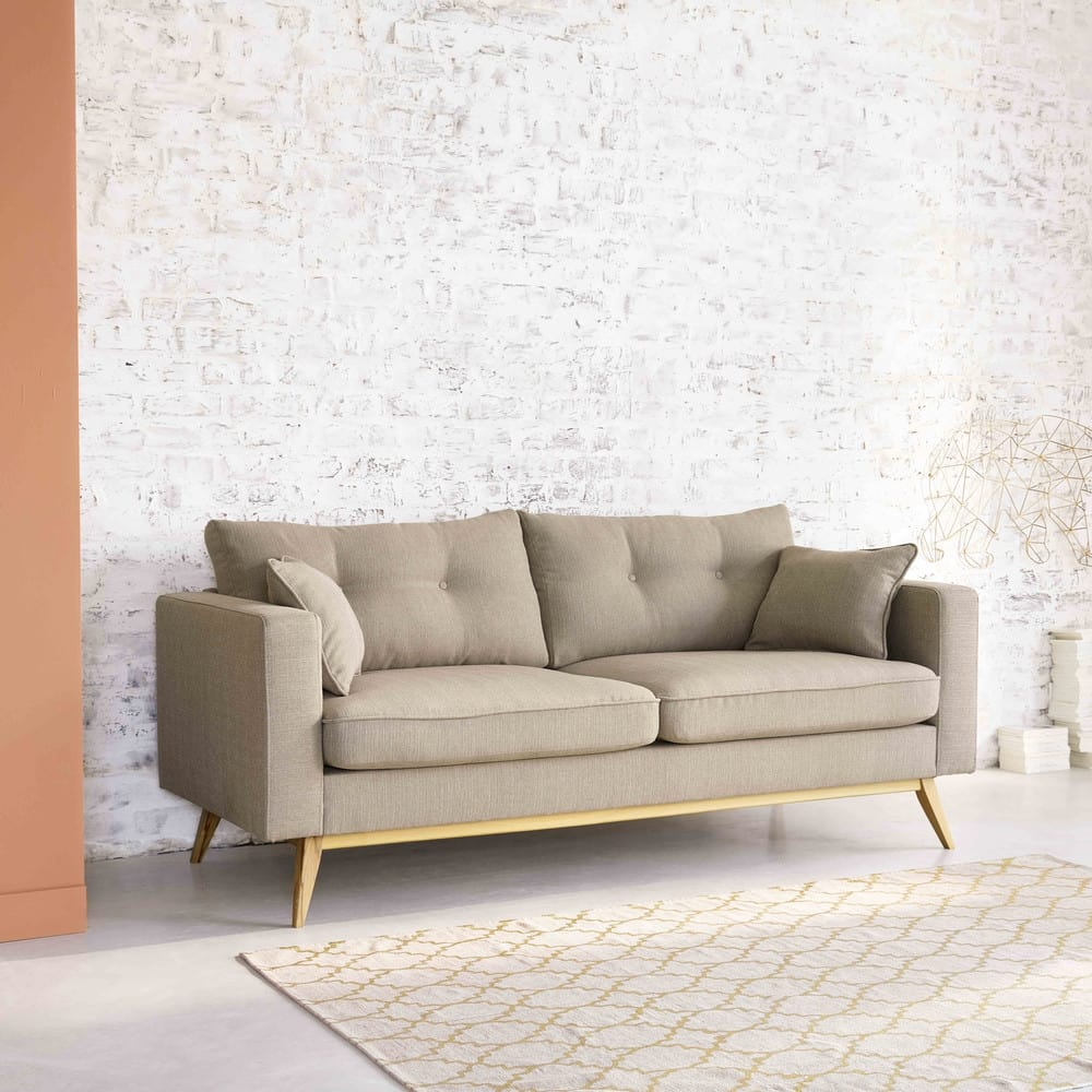 divano letto scandinavo 3 posti beige brooke maisons du