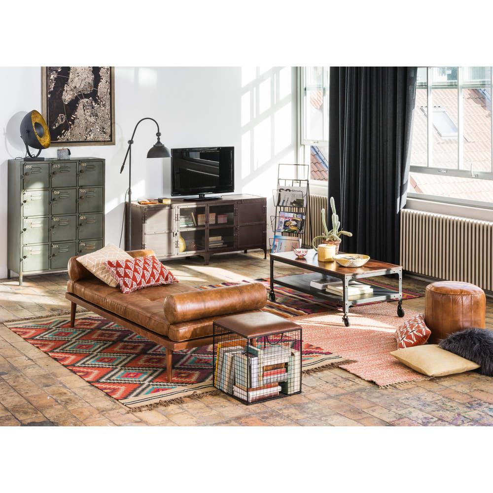 Divano letto vintage in pelle marrone Felix   Maisons du Monde