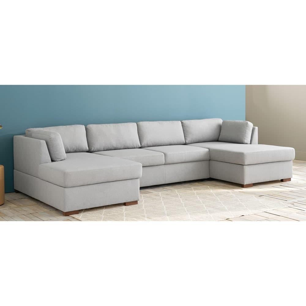 divano panoramico trasformabile 7 posti grigio chiaro