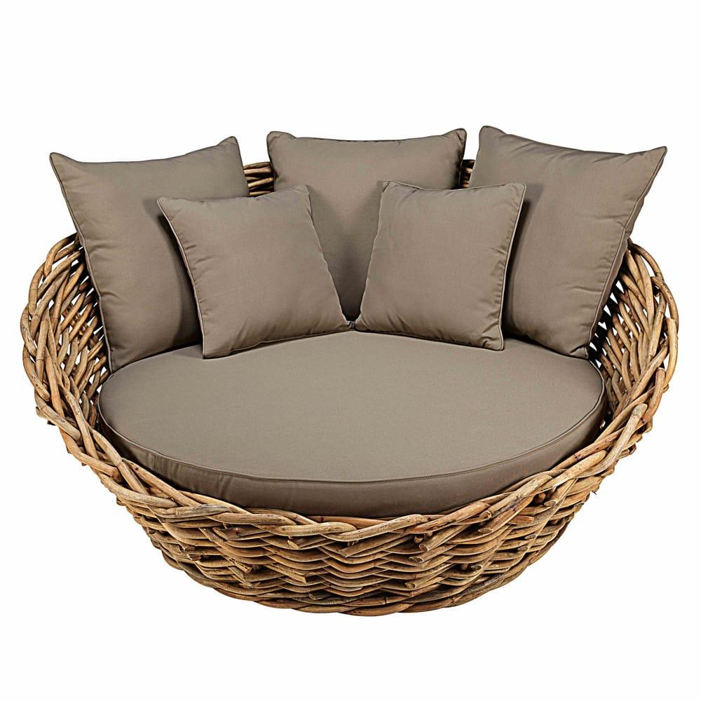 Divano rotondo da giardino in rattan con cuscini talpa st tropez maisons du monde - Divano letto da esterno ...