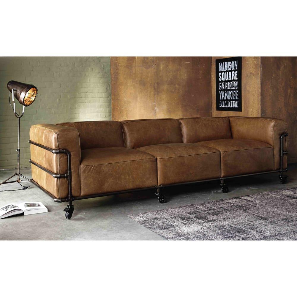 Divano stile industriale in pelle avana 4 posti fabric for Divano 9 posti