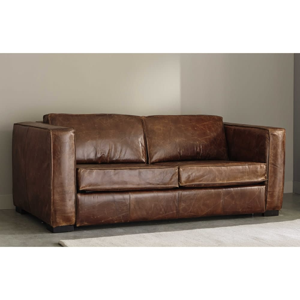 divano trasformabile in pelle anticata marrone 3 posti berlin maisons du monde. Black Bedroom Furniture Sets. Home Design Ideas