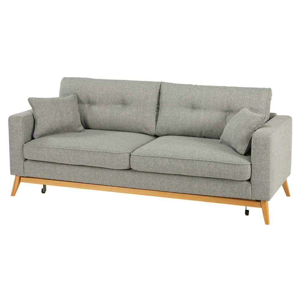 divano trasformabile scandinavo 3 posti grigio chiaro