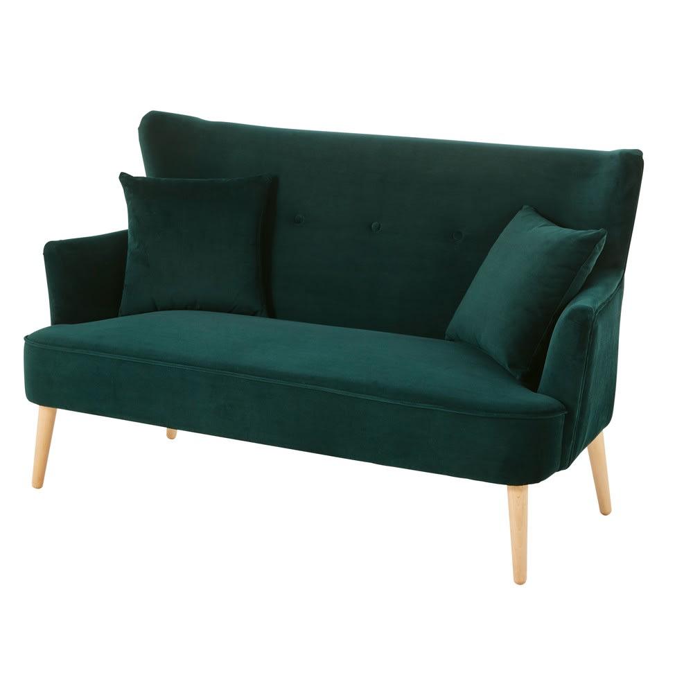 Divano vintage 2 posti in velluto verde leon maisons du for Divano 9 posti