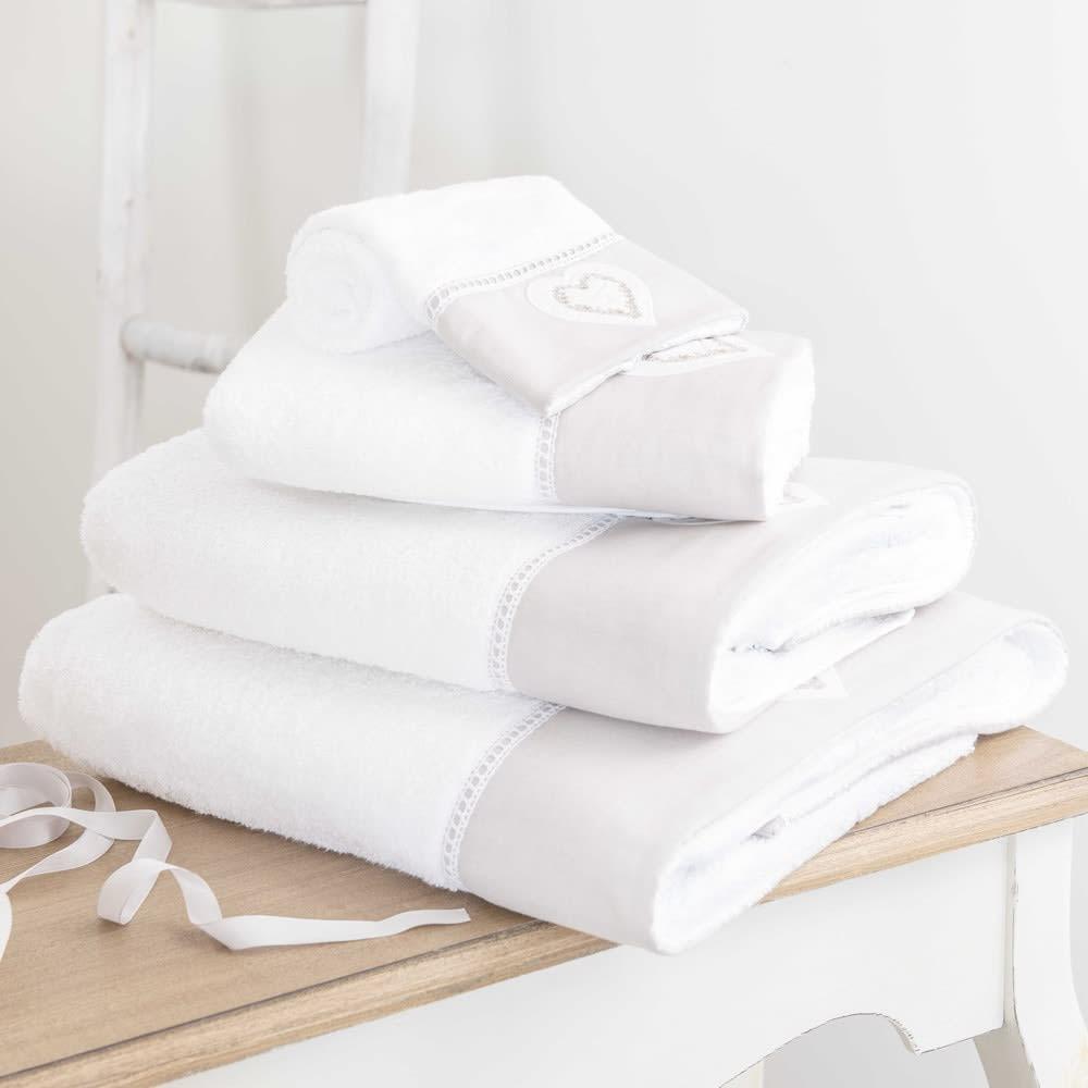 drap de bain en coton blanc 100x150 heart maisons du monde. Black Bedroom Furniture Sets. Home Design Ideas
