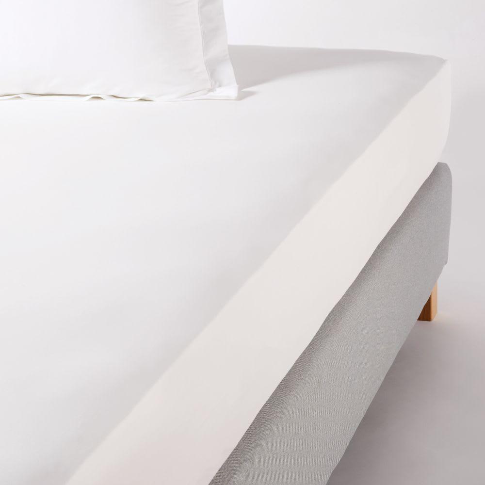Drap housse hôtellerie en percale de coton blanc 180x200, bon