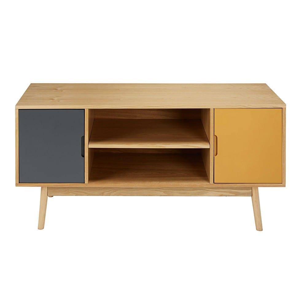 Dreifarbiges TV-Möbel im Vintage-Stil mit 2 Türen Fjord | Maisons du ...