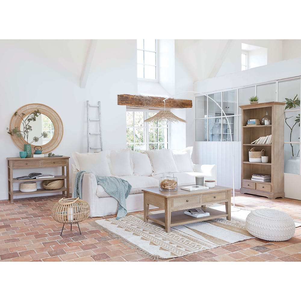 echelle d corative en ch ne blanc ines maisons du monde. Black Bedroom Furniture Sets. Home Design Ideas