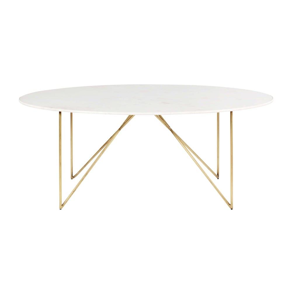 Eettafel Met 6 Witte Stoelen.Eettafel Van Wit Marmer En Goudkleurig Metaal Voor 4 A 6 Personen