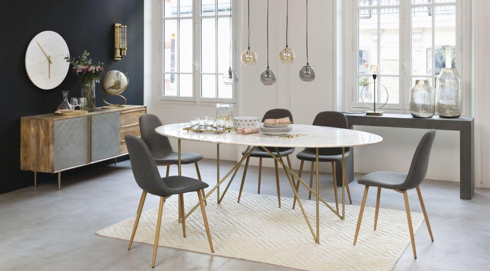 Eettafel van wit marmer en goudkleurig metaal voor à personen