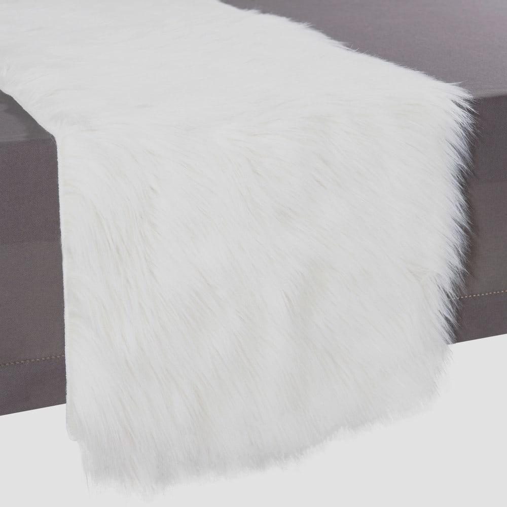 Faux Fur Table Runner White L 160 Cm Eskimo