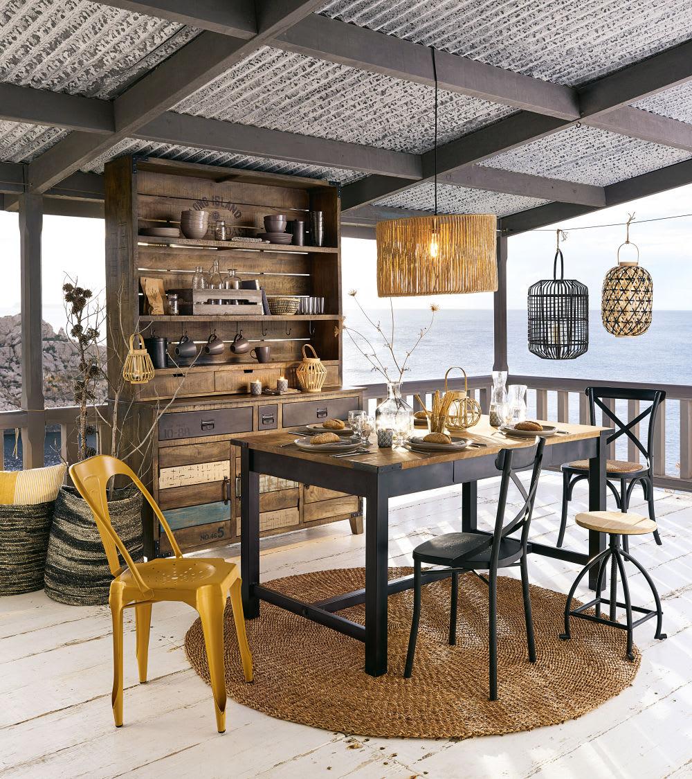 esstisch aus mangoholz und metall f r 6 8 personen l160. Black Bedroom Furniture Sets. Home Design Ideas