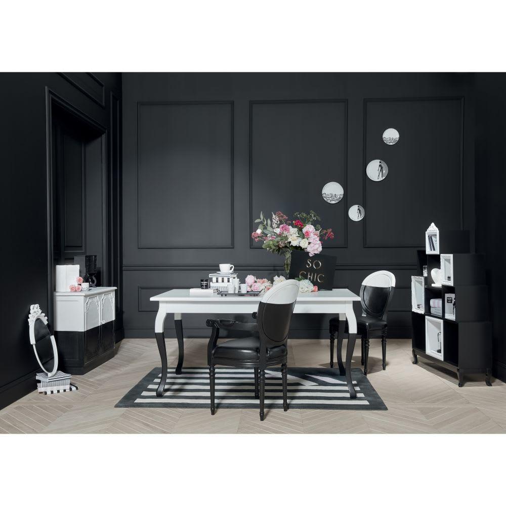 esstisch f r 6 personen wei und schwarz l160 chantal. Black Bedroom Furniture Sets. Home Design Ideas